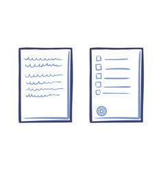 Tips or list on sheet of paper contract text stamp vector