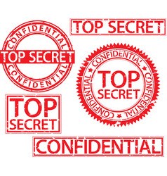 Top secret stamp set confidential sign vector