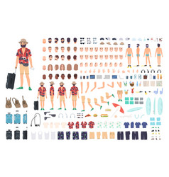 Tourist creation set or diy kit collection of vector