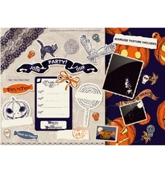 Vintage Halloween scrapbooking set vector image