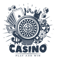 Vintage monochrome casino logo template vector