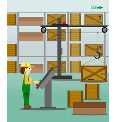 woman working in the warehouse vector image