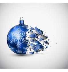 Broken blue Christmas ball vector image vector image