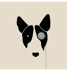 Bull terrier face with monocle vector image