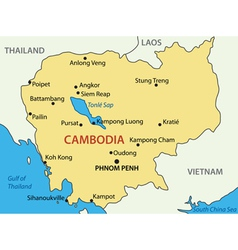 Kingdom of Cambodia - map vector image