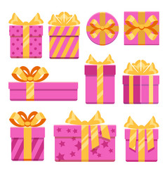 pink gift boxes with ribbon bows icons set vector image vector image