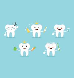 Set collection of cartoon teeth characters vector