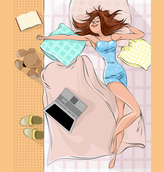 sleeping woman on the bed vector image