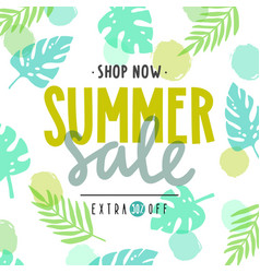 summer sale poster tropical leaves vector image vector image