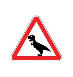 attention dinosaur sign warning of dangerous vector image