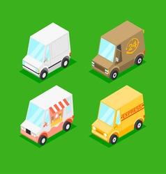 Cartoon Isometric Minivans vector image vector image