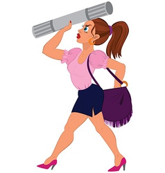 Cartoon woman in pink top and blue skirt with vector image