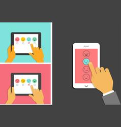 Emoticons scale satisfaction mobile survey vector