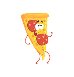 pizza cartoon fast food character element for vector image vector image