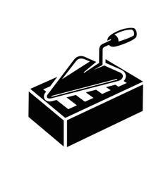 trowel and brick icon vector image