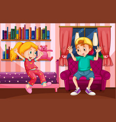 boy and girl playing in bedroom vector image
