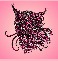Cat in mandala pattern style zentagle pink vector