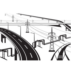 different infrastructural installations vector image