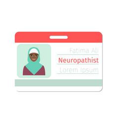 Female neuropathist medical specialist badge vector