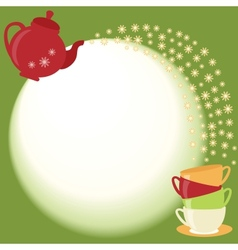 Tea card with teapot cups and flowers vector image