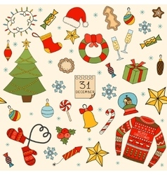 Winter and Christmas seamless pattern Hand drawn vector image vector image