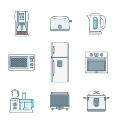 colored outline various kitchen devices set vector image