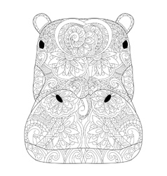 Head hippopotamus coloring for adults vector image vector image