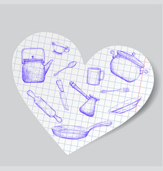 kitchen utensils is drawn on a paper heart doodle vector image
