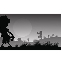 Scary zombie halloween with gray backgrounds vector image vector image