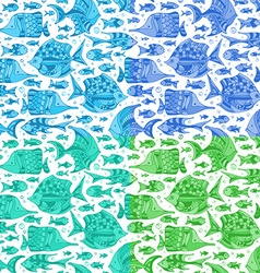 set of seamless fish patterns vector image