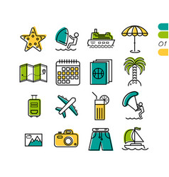 set summer vacation linear colored icons vector image vector image
