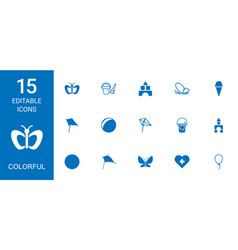 15 colorful icons vector image