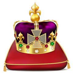 an imperial gold crown with precious stones on a vector image