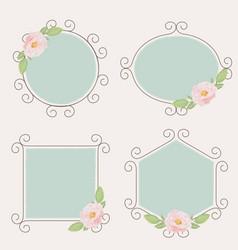 beautiful pink english roses on flourishing frame vector image