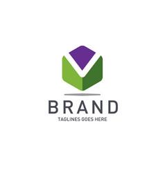 best letter m logo octagonal concept vector image
