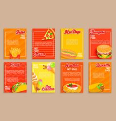 big set fast food shop flyersbanners vector image