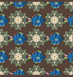Blooming jungle motley seamless exotic pattern vector