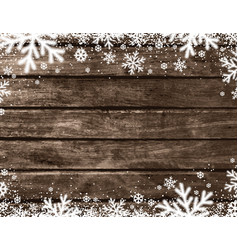 brown wooden christmas background with blurred vector image