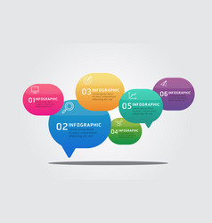 bubble speech infographic template 6 options vector image