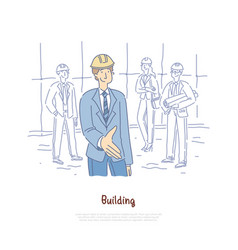 Building engineer architects team crew coworking vector