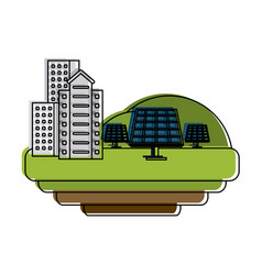 Buildings with solar panels vector