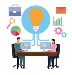 Business partners brainstorming cartoon vector