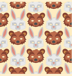 cartoon animal bear rabbit party masks vector image