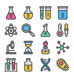 Chemistry science laboratory colorful icon vector