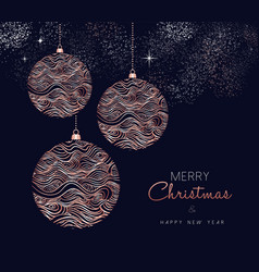 Christmas and new year copper ornament card vector