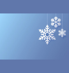 christmas poster with white snowflakes on a blue vector image