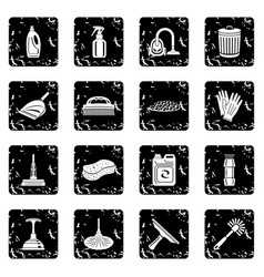 cleaning icons set grunge vector image