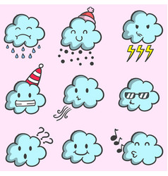 Collection of weather with cloud set vector