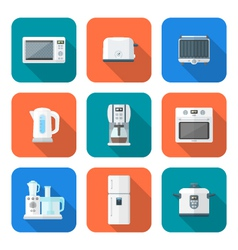 color flat style various kitchen devices set vector image vector image