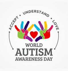 Colorful design word world autism awareness day vector
